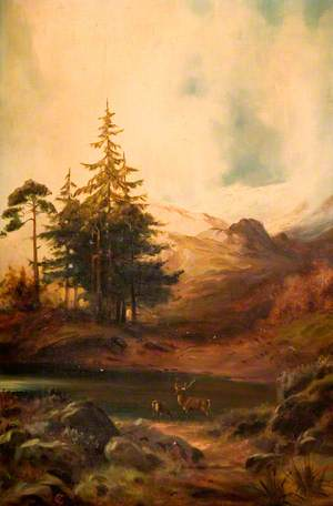 Highland Landscape with Two Stags