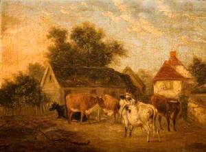 Landscape of a Farmyard with Cows