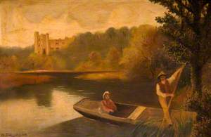 River Scene with Punt