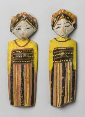 Pair of Painted Female Figures*