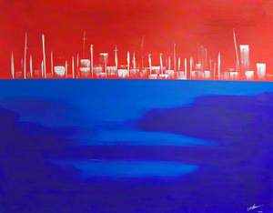 Waterfront in Red and Blue