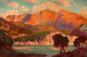 Mountain Landscape over a Lake with Trees in the Foreground