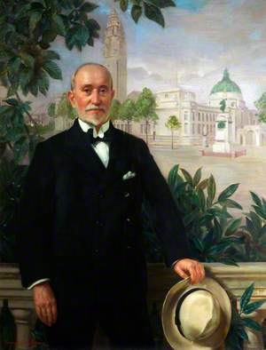 James E. Turner (b.1861), Standing in front of Cardiff City Hall