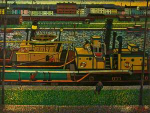 View over a Barge towards a Railway and Buildings