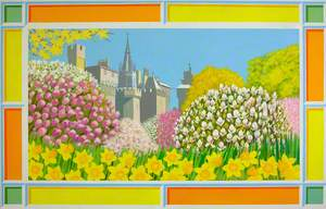 Cardiff Castle with Daffodils