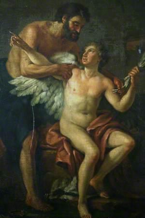 Daedalus Fastening Wings on Icarus
