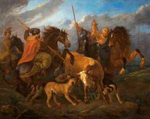 Horsemen and Dogs Hunting a Bull