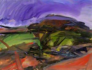 Purple with Red Foreground; The Hill from Tan-y-Graig