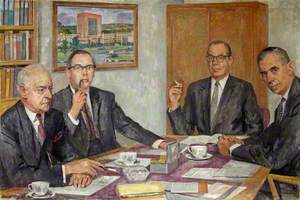 The Board Room of British Nylon Spinners with Four Male Executives