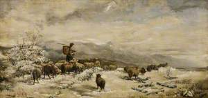 Winter Scene with a Shepherd and Sheep