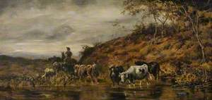 Cattle Crossing a River with a Drover