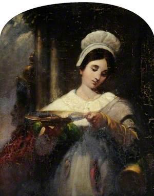 Girl Holding a Silver Salver