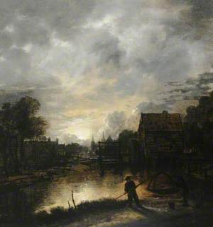 River Landscape in the Evening with Moonlight and a Watermill