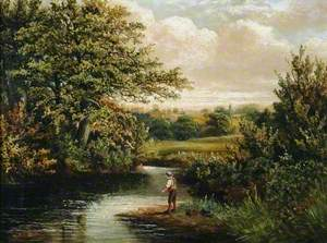 A Boy Fishing in a Wooded River Landscape