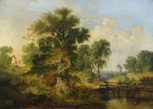 A River Landscape with Figures on a Bridge