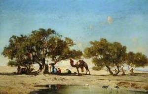 An Eastern Scene with Camels and Figures Resting in the Shade under Trees