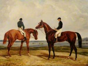 'Sittingbourne' with S. Rogers II and 'West Australian' with F. Butler, Winner of the 1853 Derby