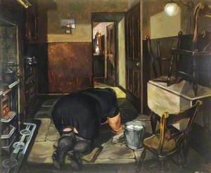Hilda Fettling the Kitchen Floor