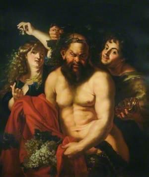 Drunken Silenus Attended by Bacchantes