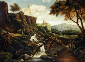 Landscape with a Waterfall and a Temple