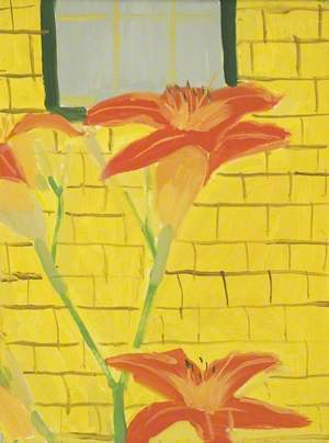 Lillies Against Yellow House