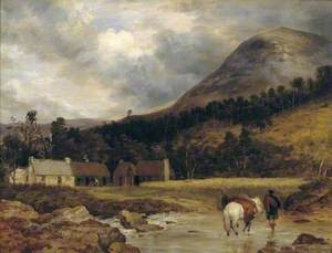 Scottish Landscape: Bringing in a Stag (figure and animals by Sir E. Landseer)