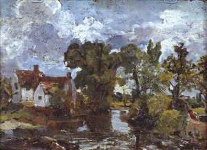 The Mill Stream. Verso: Night Scene with Bridge