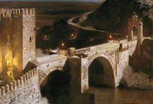The Alcantara, Toledo, by Moonlight