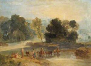 Men with Horses Crossing a River