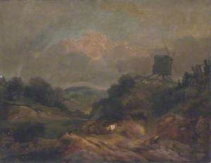 Landscape with Windmill and Rainbow (partly after Gainsborough)