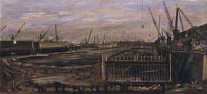 Building the Mulberry Harbour, London Docks