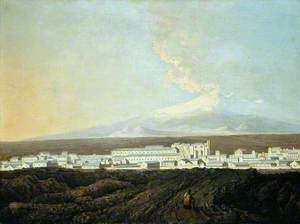 A View of Catania with Mount Etna in the Distance