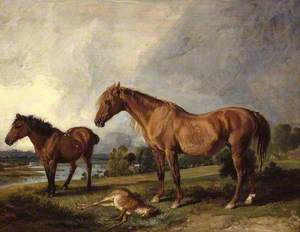 Portraits of Blackthorn, a Broodmare, with Old Jack, a Favourite Pony, the Property of E. Mundy, Esq.