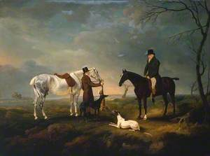 Sir Robert Leighton after Coursing, with a Groom and a Couple of Greyhounds