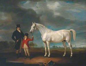 Mr Powell and his Son, with Norton, a Grey Hunter