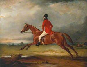 Major Healey, Wearing Raby Hunt Uniform, Riding with the Sedgefield Hunt