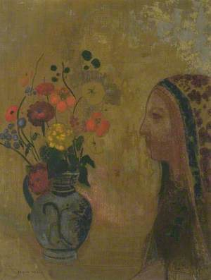 Profile of a Woman with a Vase of Flowers (Profile de femme avec vase de fleurs)