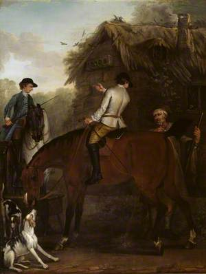 Viscount Weymouth's Hunt: Two Hunt Servants on Hunters beside a Cottage