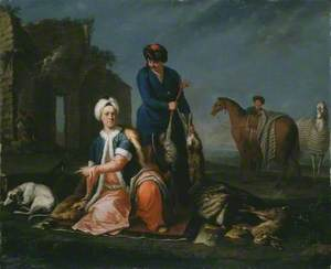 Portrait of Henry Lannoy Hunter in Oriental Dress, Resting from Hunting, with a Manservant Holding Game