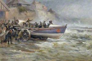 Launching the Cullercoats Lifeboat