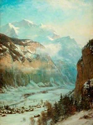 Mountainous Landscape in Winter