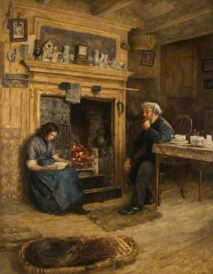 Interior, Woman Reading to an Old Man