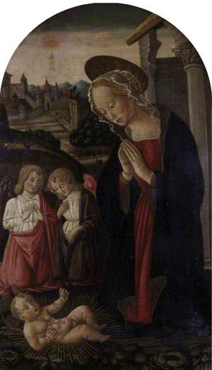 Madonna and Child with Two Angels in a Landscape