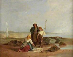 Fisherfolk on a Beach