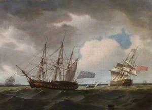 Sea Piece with British Men-of-War