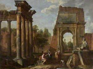 Architectural Capriccio, Arch of Titus with Figures
