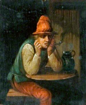 Man in a Red Hat Smoking a Pipe