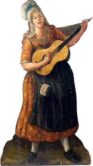 Female Street Player with a Guitar