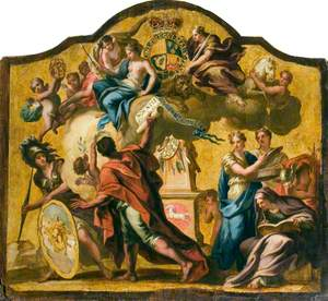 Allegorical Figures: Clemency, Prudence and Justice with Pallas, Heroic Poetry, Liberty, Discretion, History and Mercury