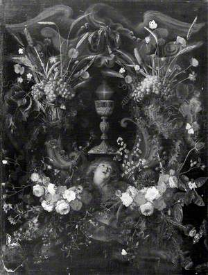 A Garland of Flowers Surrounding a Cartouche Containing an Angel's Head and the Holy Sacrament